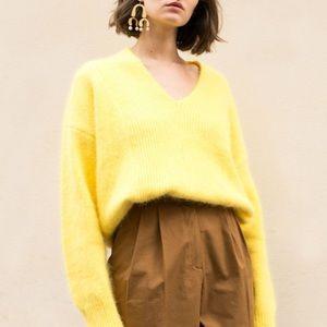Frankie Shop Canary Yellow Angora Sweater